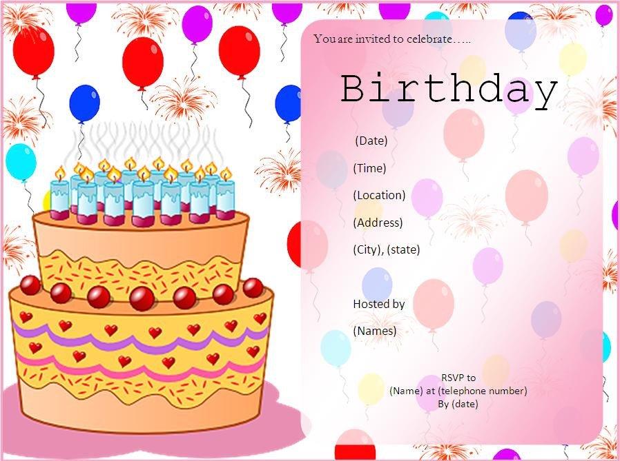 Birthday Invitation Templates Word 10 Free Birthday Invitation Templates