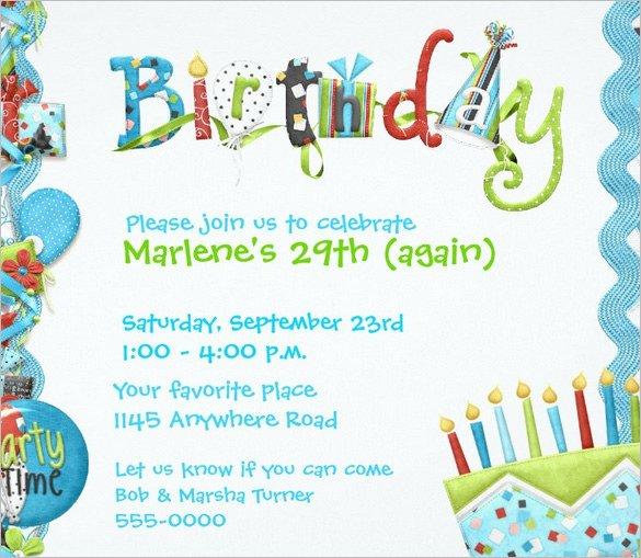 Birthday Invitation Templates Word Birthday Invitation Template – 48 Free Word Pdf Psd