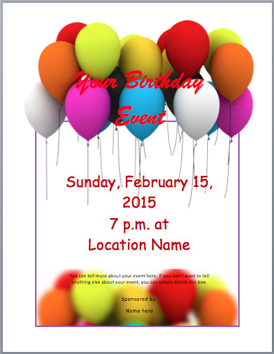 Birthday Invitation Templates Word Birthday Party Invitation Flyer Template 3 Printable