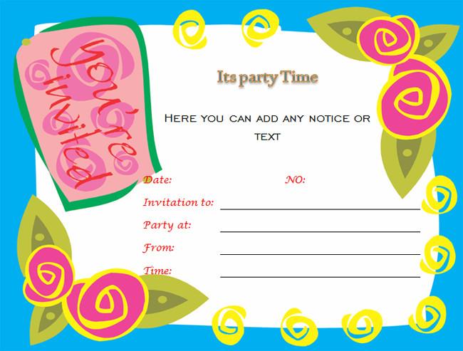 Birthday Invitation Templates Word Birthday Party Invitations Microsoft Word Templates