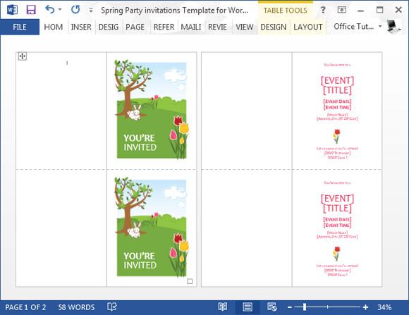 Birthday Invitation Templates Word Spring Party Invitation Template for Word