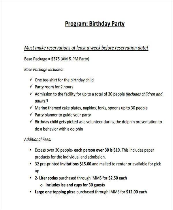 Birthday Party Program Outline 24 Program Examples Pdf Psd Doc