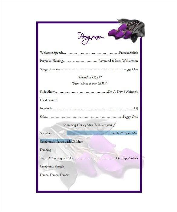 Birthday Party Program Outline Birthday Program Template 11 Free Word Pdf Psd Eps