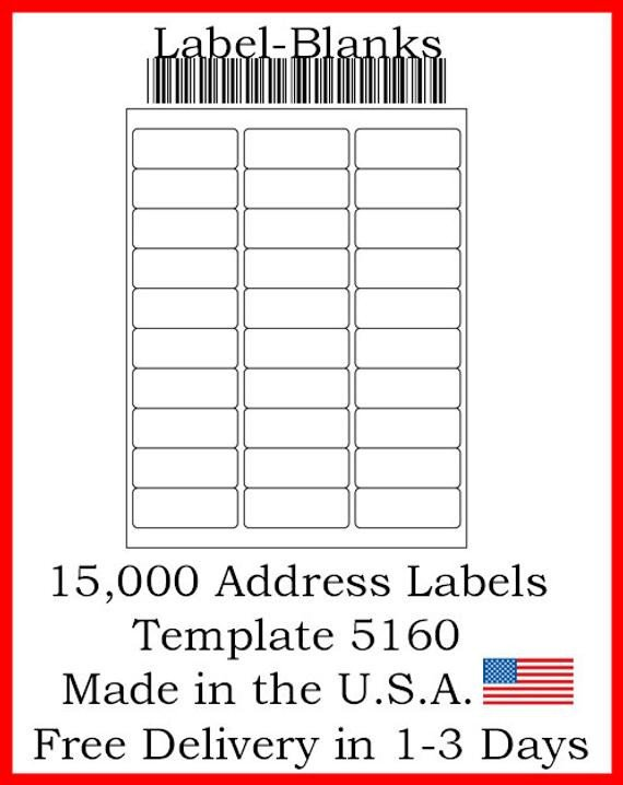 "Blank Address Label Template Laser Ink Jet Labels 500 Sheets 1"" X 2 5 8"" Avery"