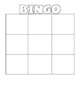 Blank Bingo Card Template Blank Bingo & Wordo Grids by Erin Stripling