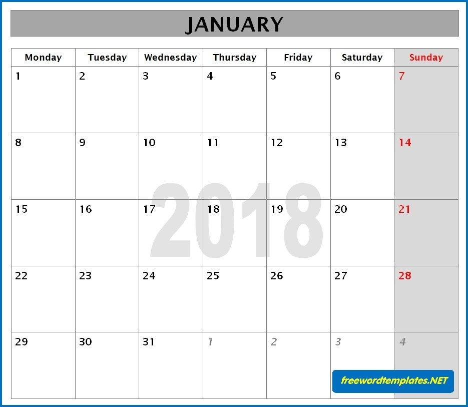Blank Calendar Template Word 2018 Calendars
