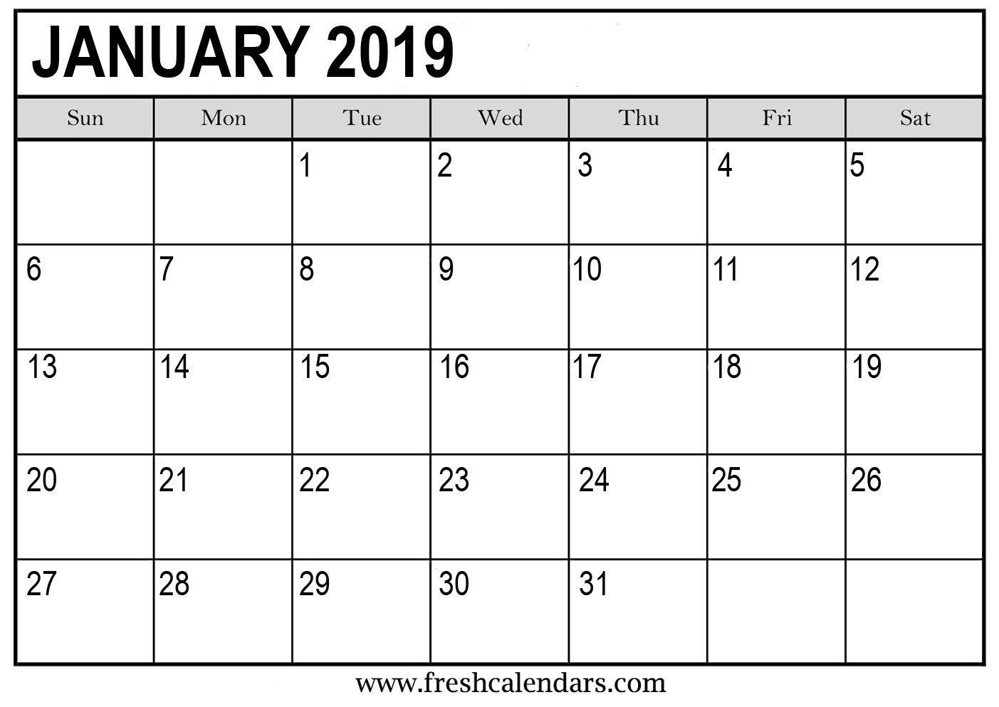 Blank Calendar Template Word January 2019 Calendar Printable Fresh Calendars