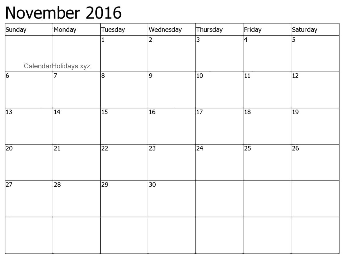 Blank Calendar Template Word November 2016 Word Calendar Wordcalendar Calendartemplates