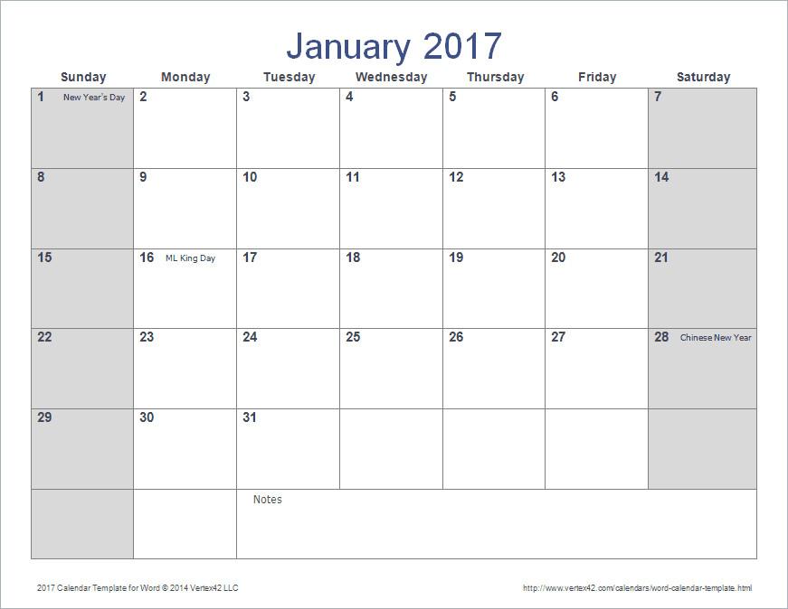 Blank Calendar Template Word Word Calendar Template for 2016 2017 and Beyond