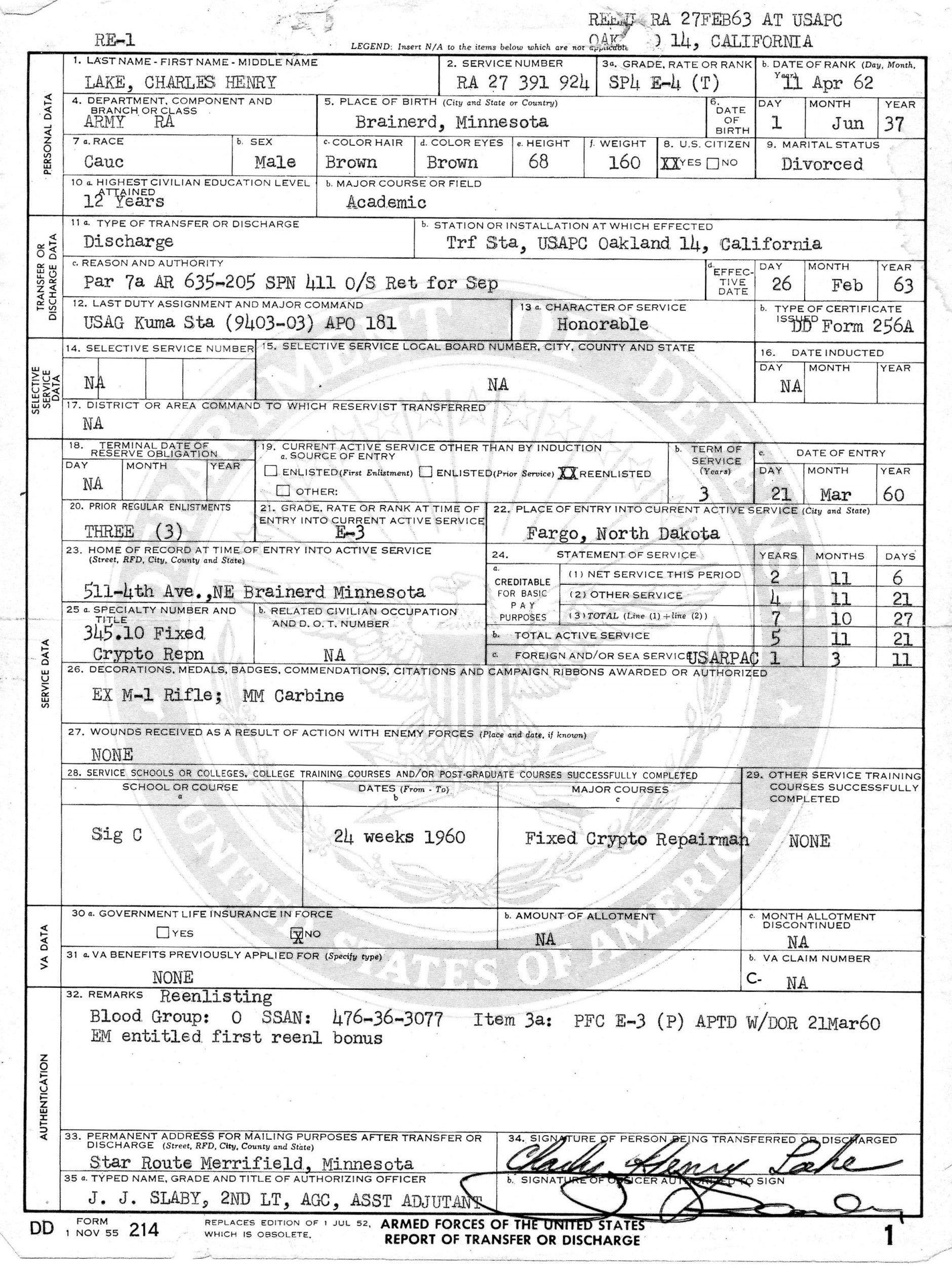 Blank Dd form 214 Pdf Dd214 Long form