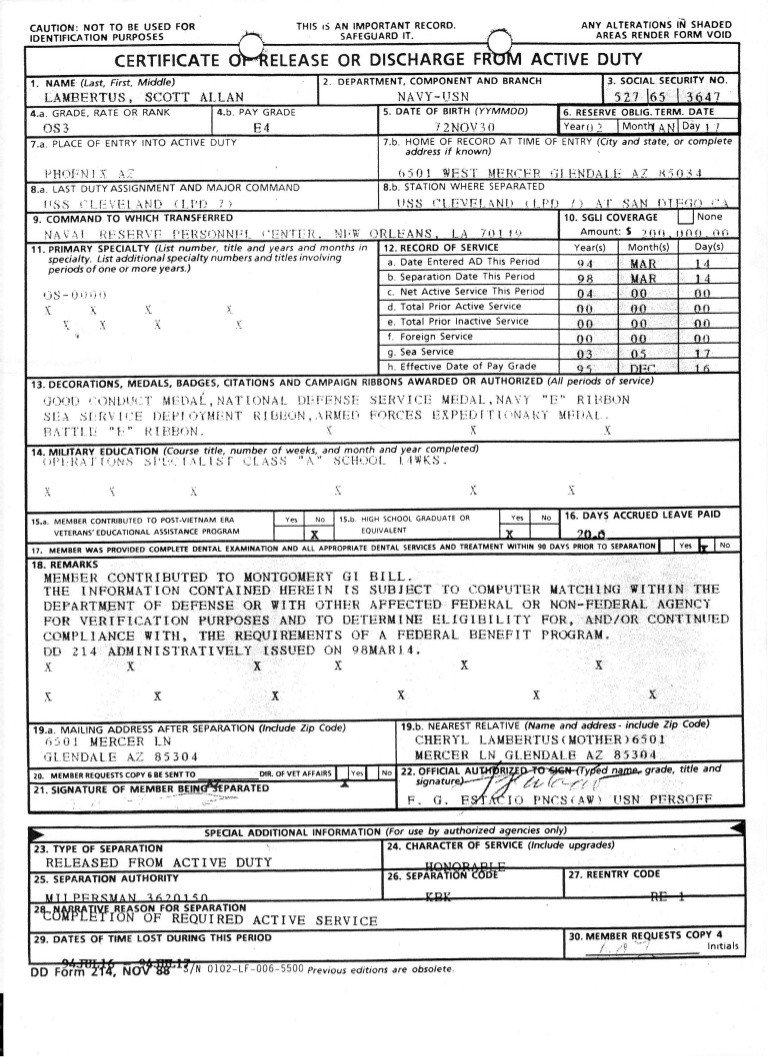 Blank Dd form 214 Pdf Dd214