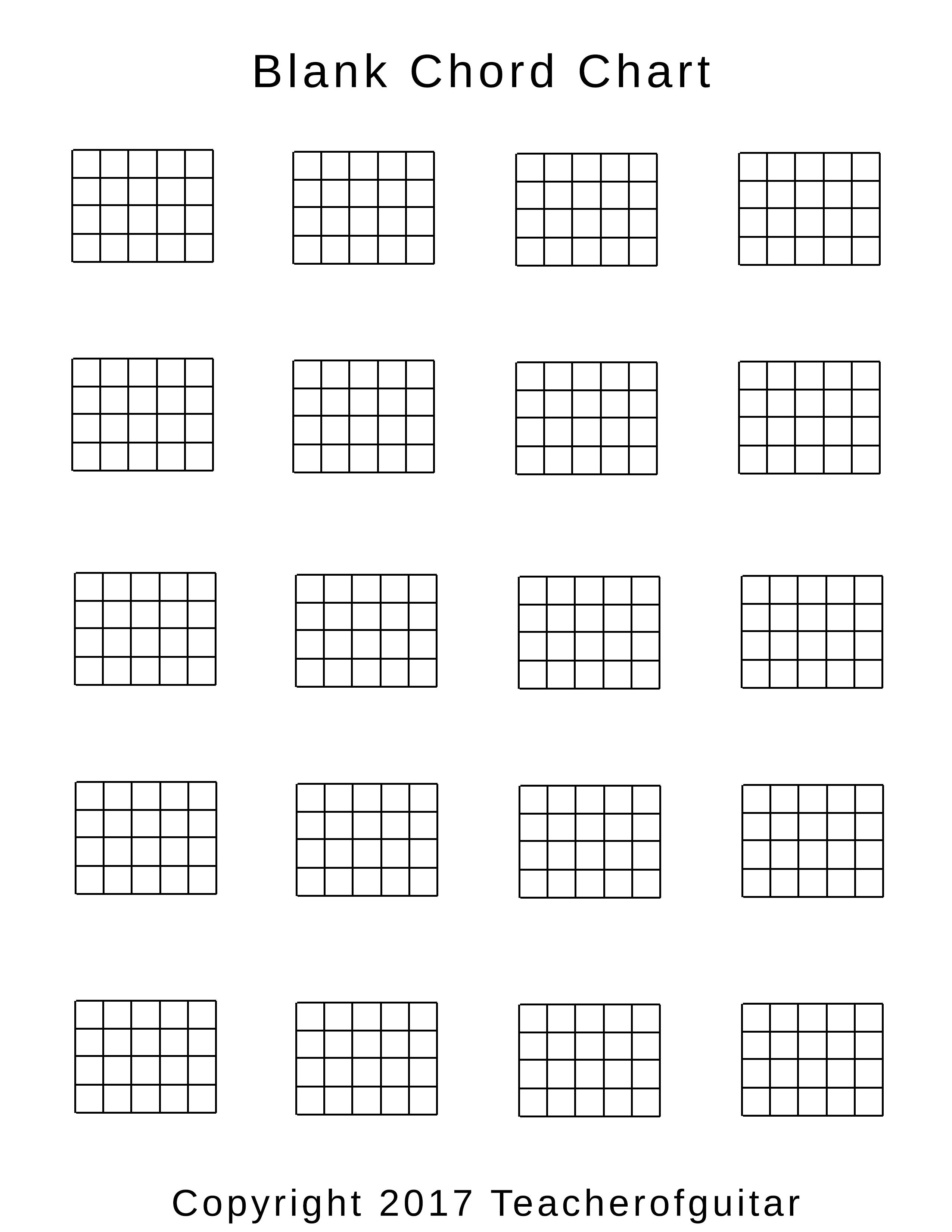 Blank Chord Chart Teacher of Guitar
