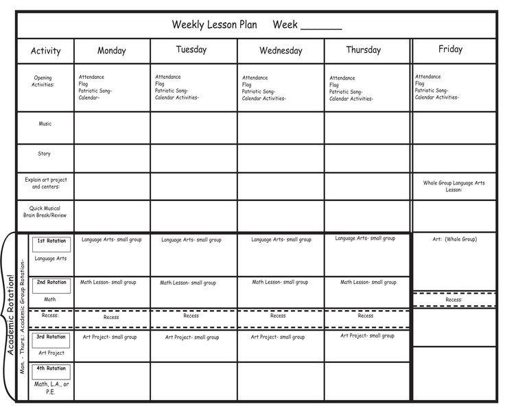 Blank Preschool Lesson Plan Template Blank Preschool Lesson Plan Template Pdfkindergarten