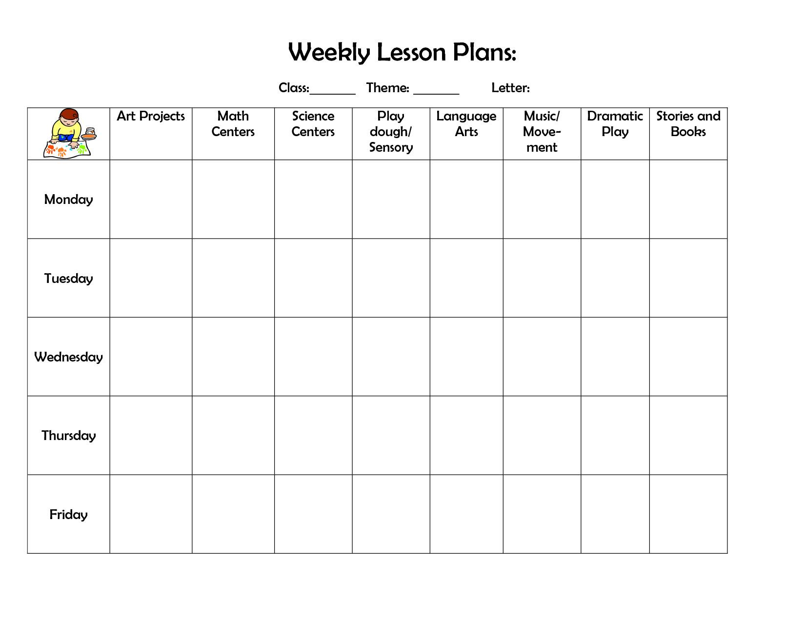 Blank Preschool Lesson Plan Template Infant Blank Lesson Plan Sheets