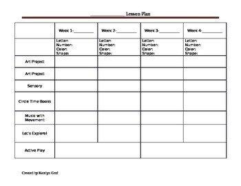 Blank Preschool Lesson Plan Template Monthly Preschool Lesson Plan Template by Katey S Child