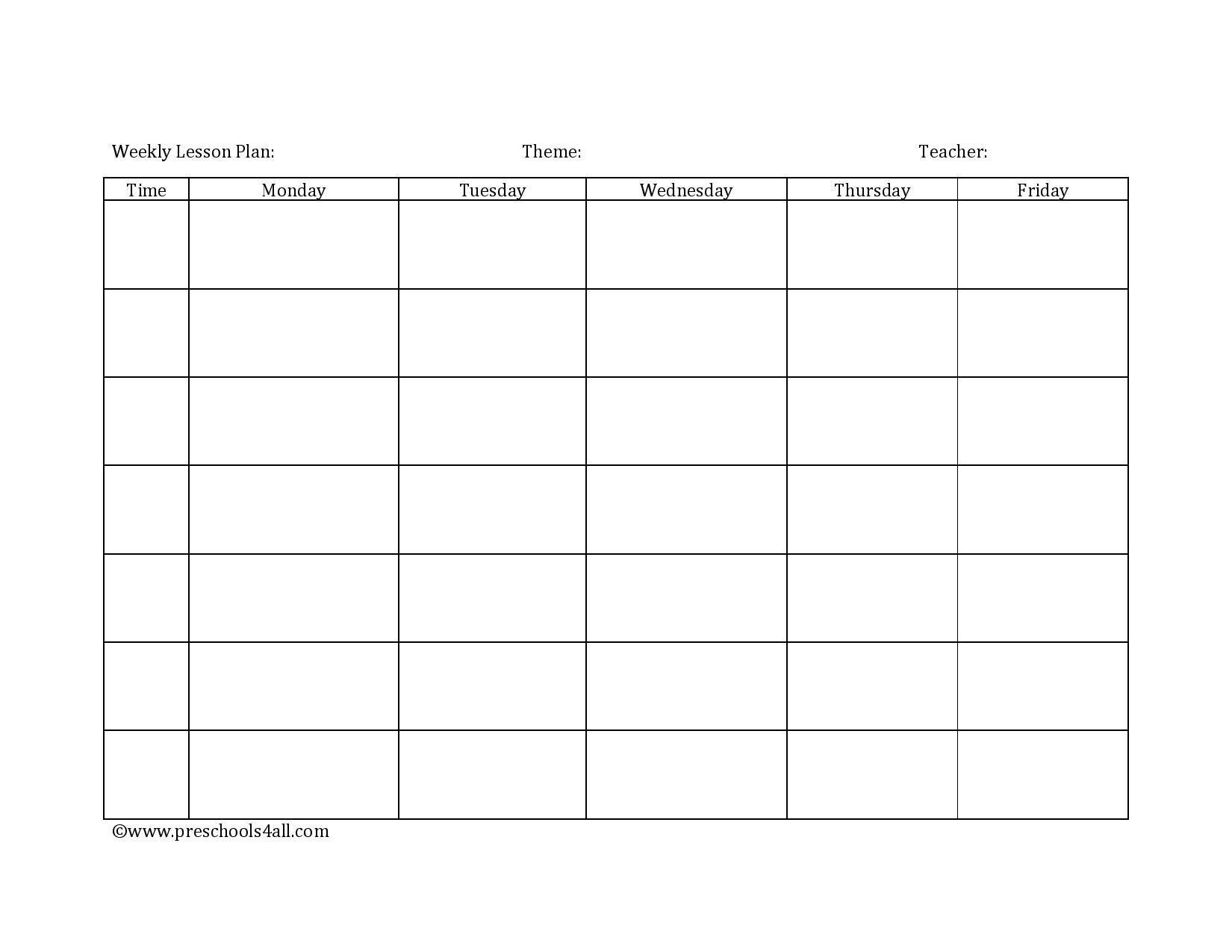 Blank Preschool Lesson Plan Template Preschool Lesson Plan Template Lesson Plan Book Template