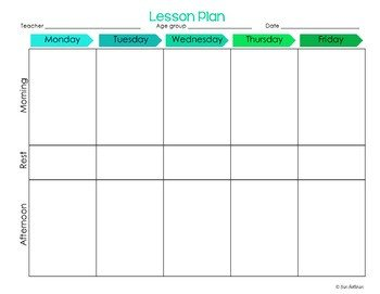 Blank Preschool Lesson Plan Template Preschool Lesson Plan Templates Editable by Erin