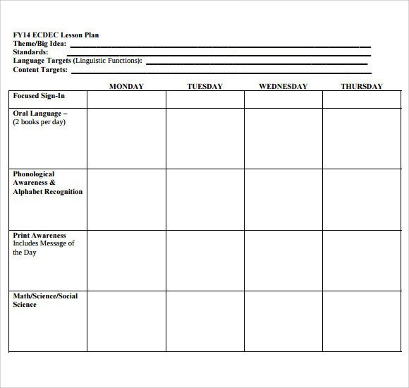 Sample Blank Lesson Plan 10 Documents in PDF