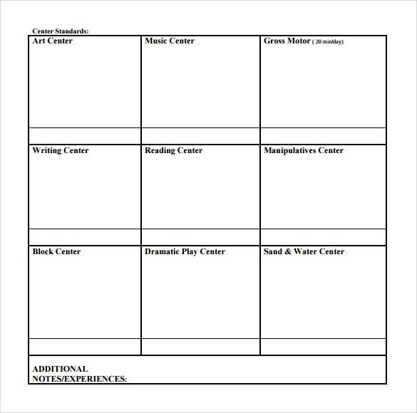 Blank Preschool Lesson Plan Template Sample toddler Lesson Plan 9 Example format