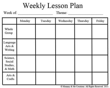 Blank Preschool Lesson Plan Template Weekly Preschool Lesson Plan Template by Mommy and Me