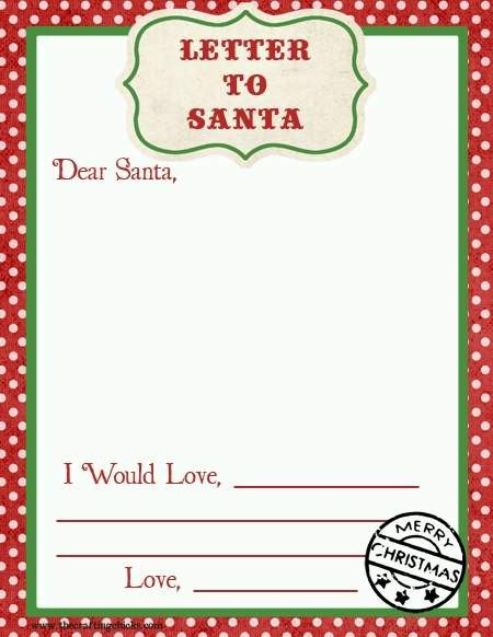 Top 15 Best Blank Letters to Santa Free Printable