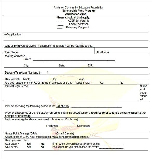 Blank Scholarship Application Template 13 Scholarship Application Templates Pdf Doc