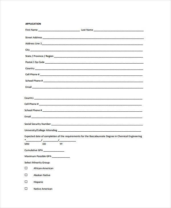 Blank Scholarship Application Template Sample Scholarship Application form 7 Documents In Pdf