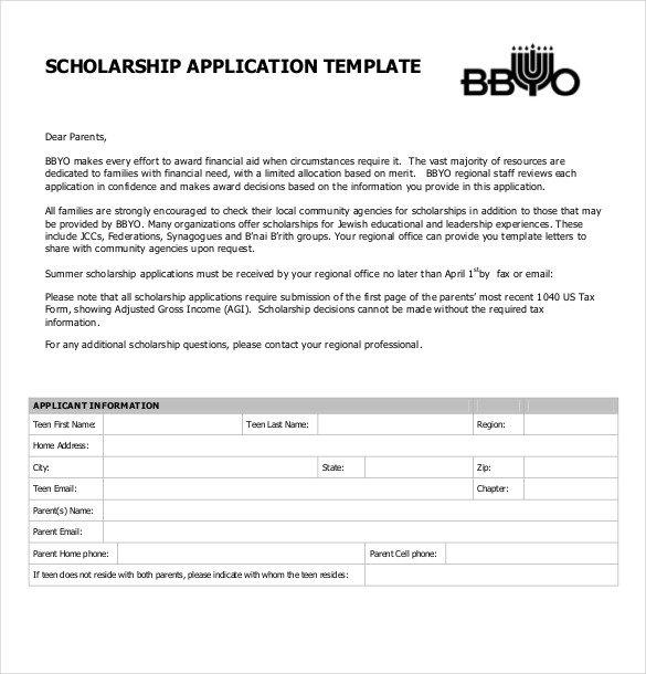Blank Scholarship Application Template Scholarship Application Template – 10 Free Word Pdf