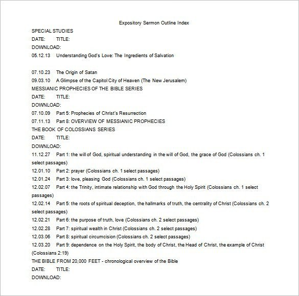 Blank Sermon Outline Template Sermon Outline Template 6 Free Word Excel Pdf format
