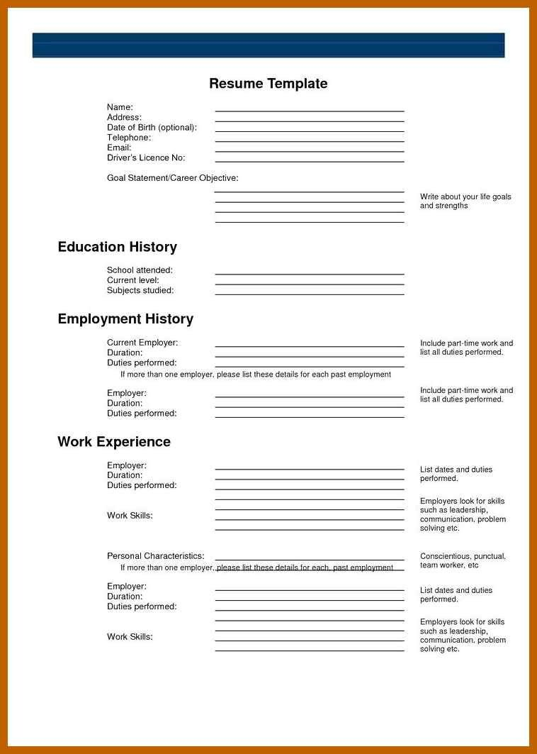 Blank Simple Resume Template 9 10 Blank Basic Resume Templates