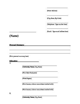 Blank Simple Resume Template A Fill In the Blank Resume Template by Katie Allen