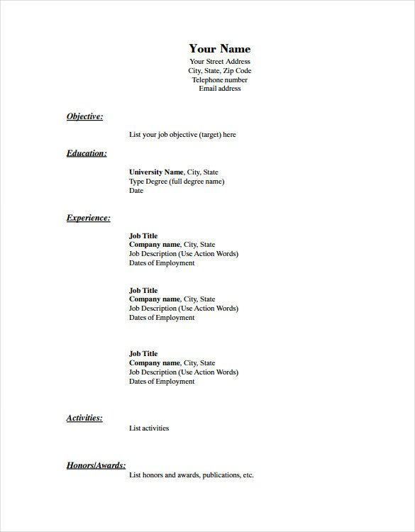 Blank Simple Resume Template Blank Resume Template – 15 Free Psd Vector Eps Ai