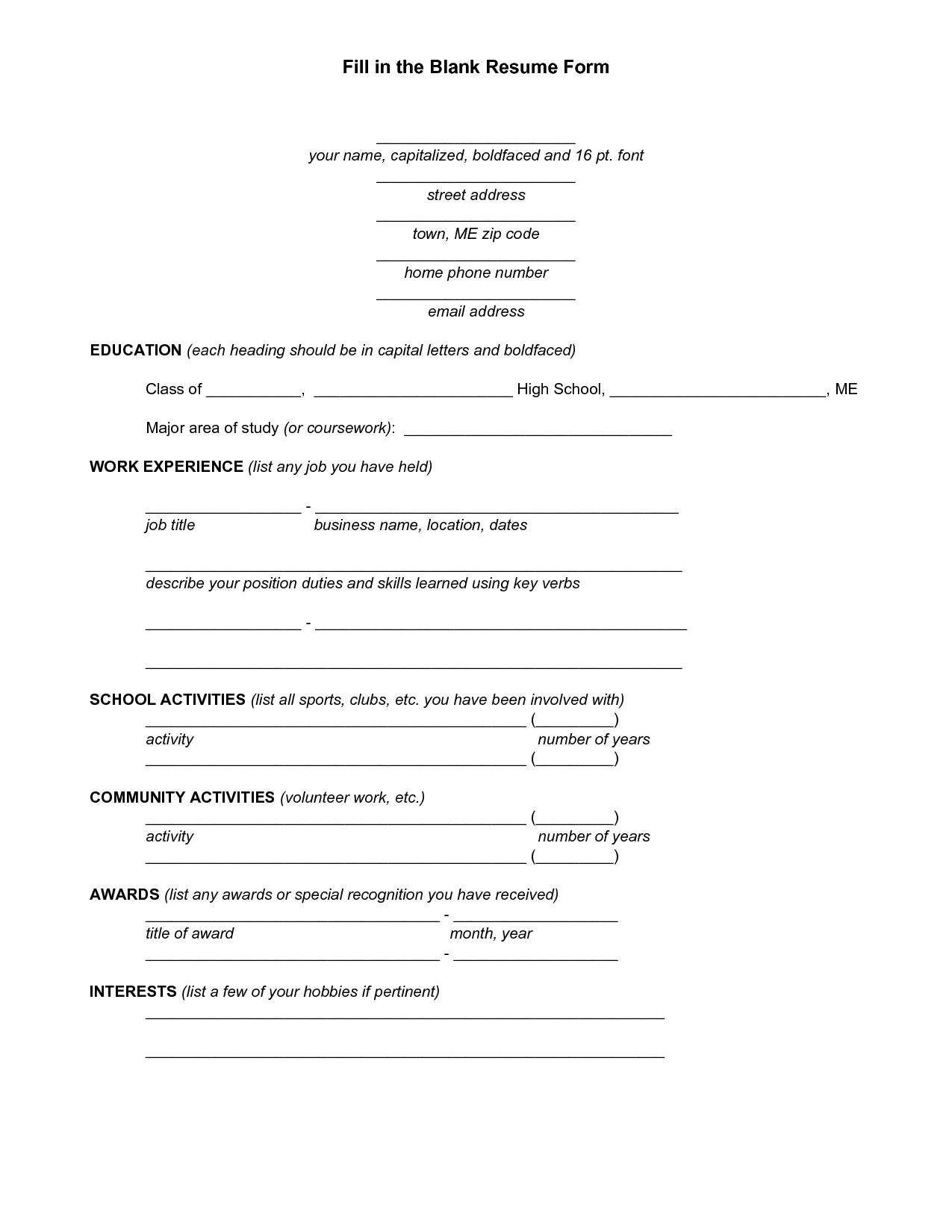 Blank Simple Resume Template Blank Resume Template for High School Students