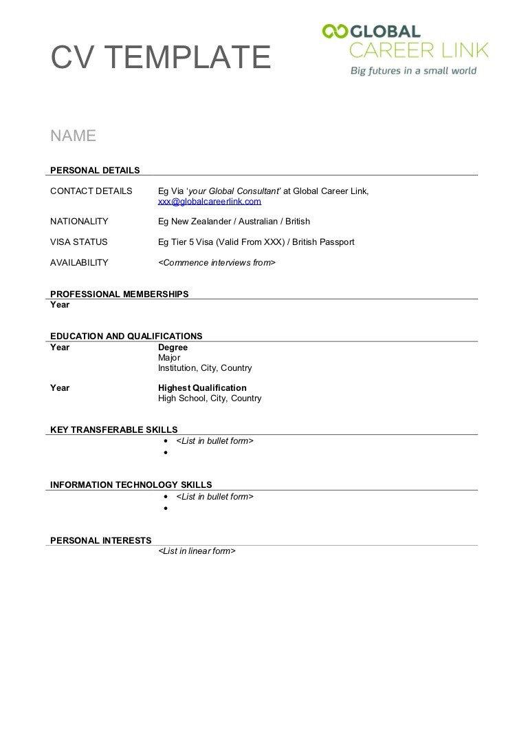 Blank Simple Resume Template Cv Template
