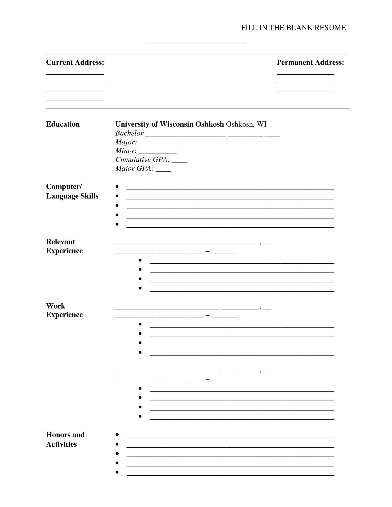 Blank Simple Resume Template Fill In the Blank Resume Pdf Umecareer