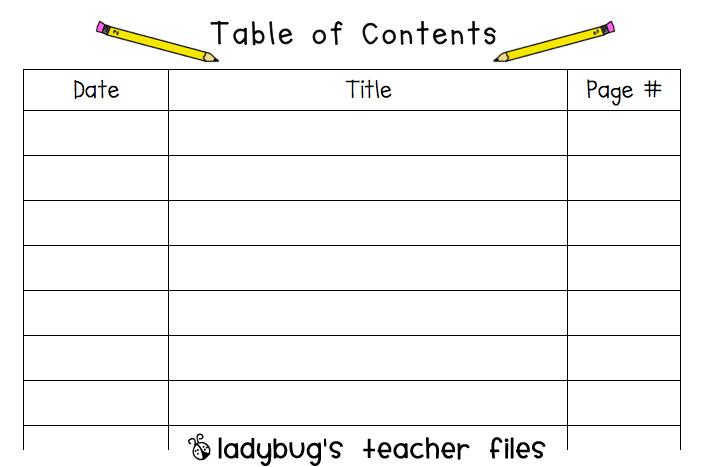 Blank Table Of Contents Blank Table Contents Printable