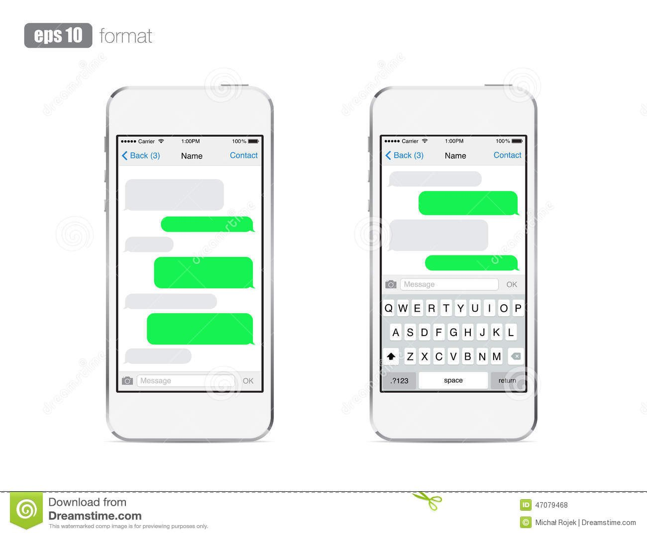 Blank Texting Template Smart Phone Chatting Sms Template Bubbles Stock Vector