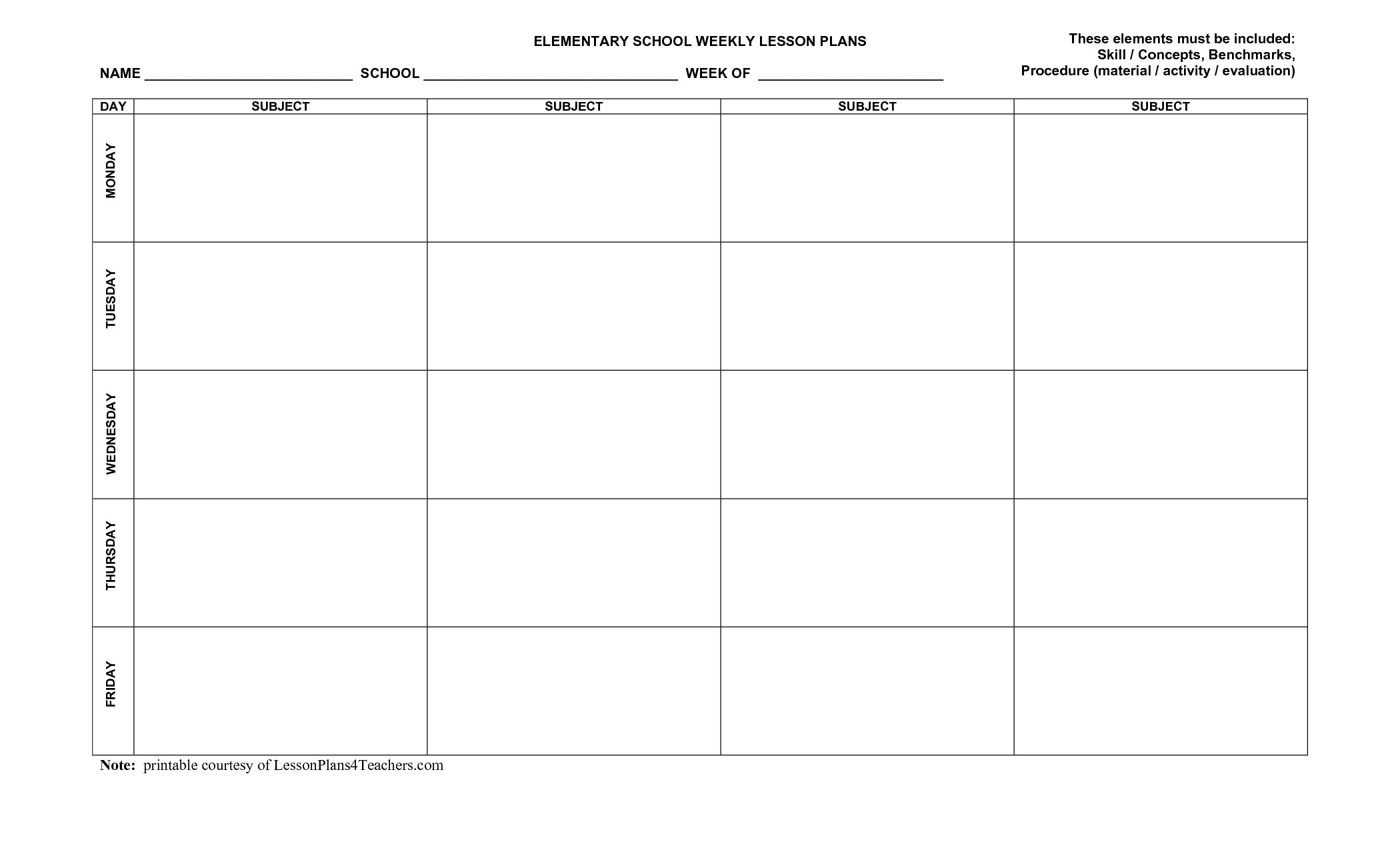 Blank Weekly Lesson Plan Templates MqfoTfaS