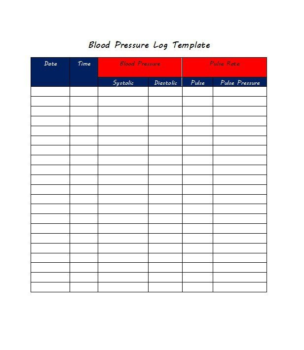 Blood Pressure Chart Template 30 Printable Blood Pressure Log Templates Template Lab