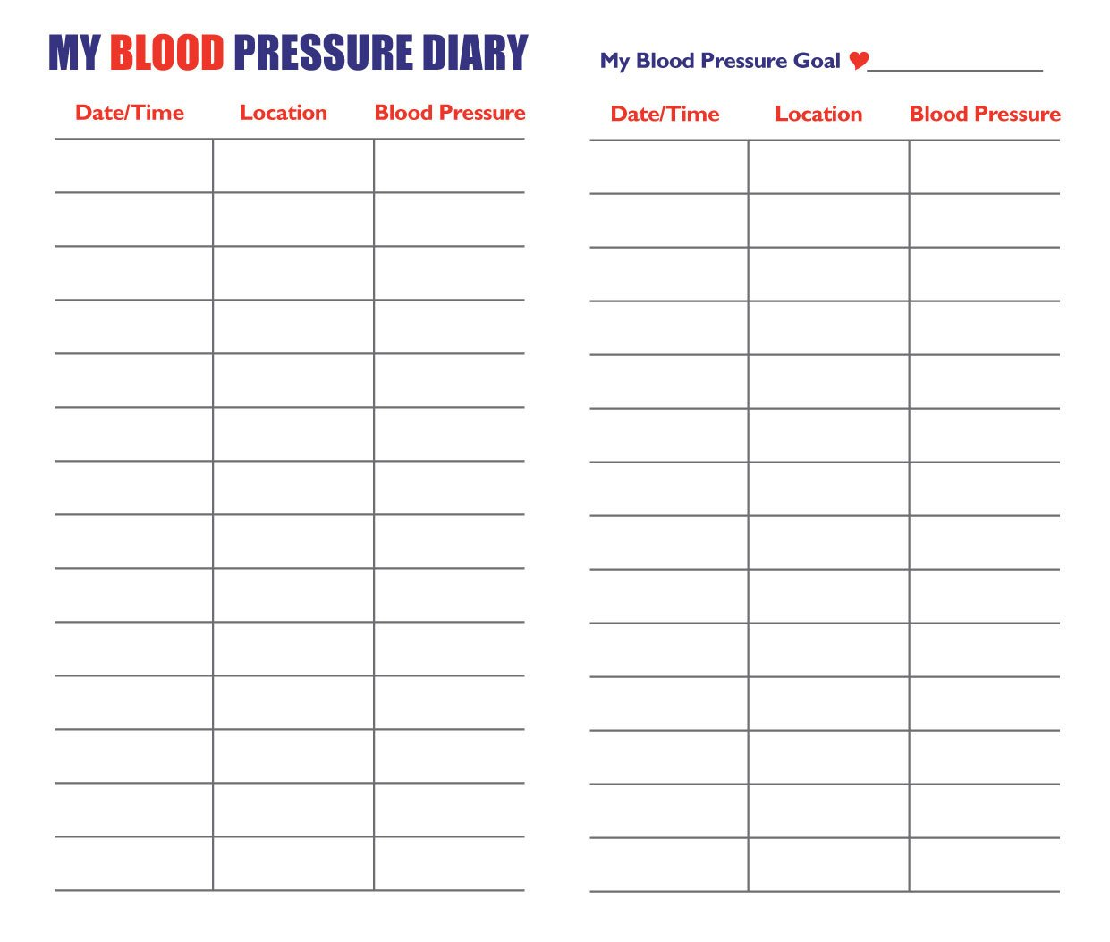 Blood Pressure Chart Template Blood Pressure Chart by Age