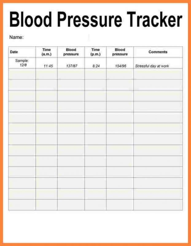 Blood Pressure Chart Template Blood Pressure Recording Charts Template