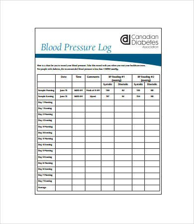 Sample Blood Pressure Log 7 Free PDF Download Documents