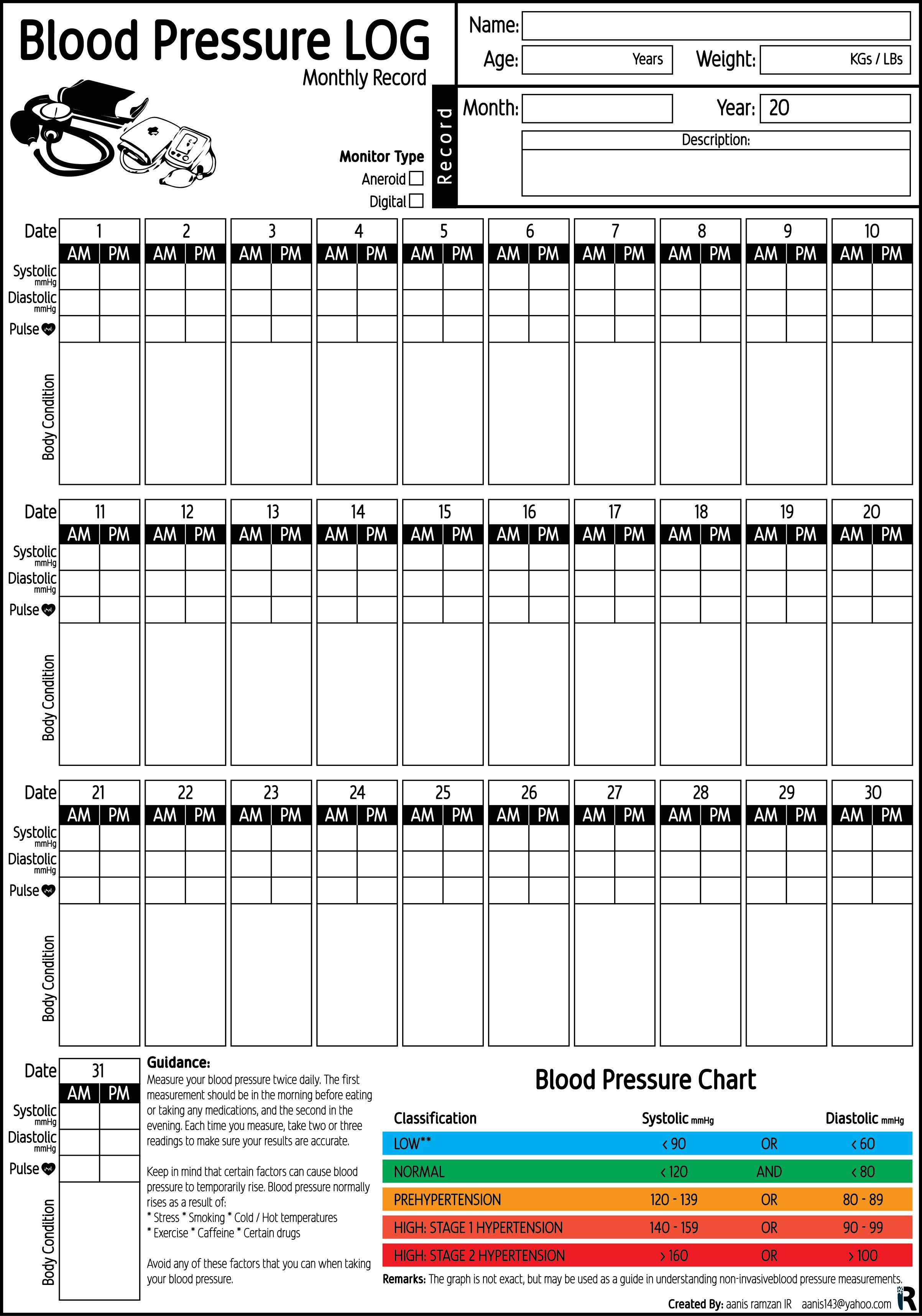 Blood Pressure Record Chart Blood Pressure Log Monthly Record Pdf Printable by Aanis