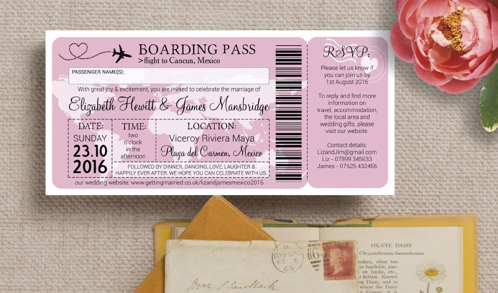 Boarding Pass Wedding Invitations Airline Boarding Pass Travel themed Wedding Invitation