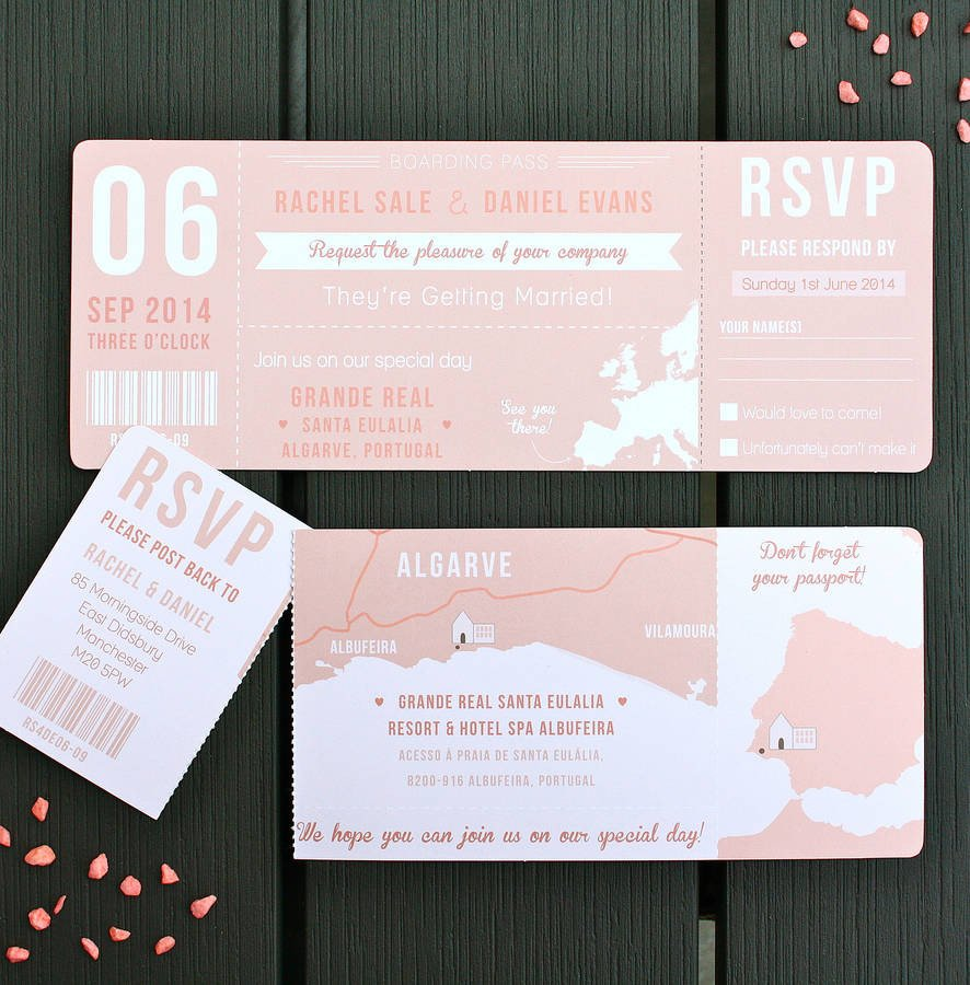 Boarding Pass Wedding Invitations Boarding Pass Wedding Invitation Bundle by Rodo Creative
