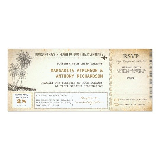 Boarding Pass Wedding Invitations Old Boarding Pass Flight Wedding Invites with Rsvp