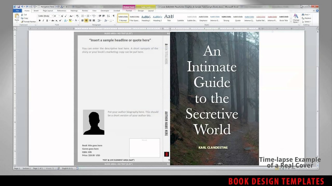 Book Cover Template Word Print Book Cover Template for Word Preview