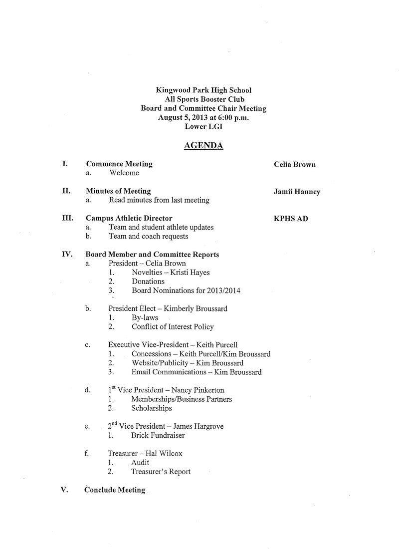 Booster Club Meeting Minutes Template 24 Of Booster Club Agenda Template