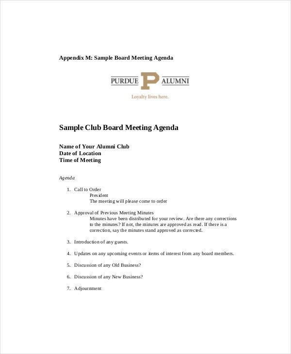 Booster Club Meeting Minutes Template Club Meeting Agenda Template 7 Free Word Pdf Documents