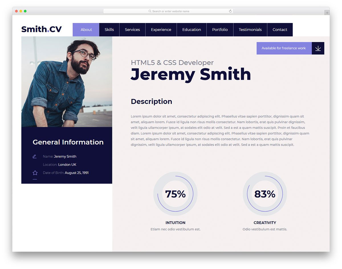 Bootstrap Resume Template Free 31 Free Bootstrap Resume Templates for Effective Job